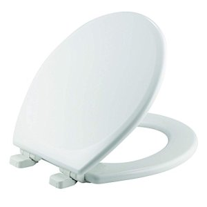 MAYFAIR 843SLOW 000 Toilet Seat will Slow Close and Never Loosen, ROUND, Durable Enameled Wood, White