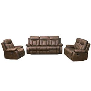 Betsy Furniture 3-PC Microfiber Fabric Recliner Set Living Room Set in Brown, Sofa Loveseat Chair Pillow Top Backrest and Armrests 8028 (Living Room Set 3+2+1)