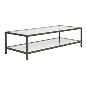 """Studio Designs Home Camber Modern Rectangular Glass Coffee Table In Gray Pewter With Clear Glass, Living Room Coffee Table, 55"""","""