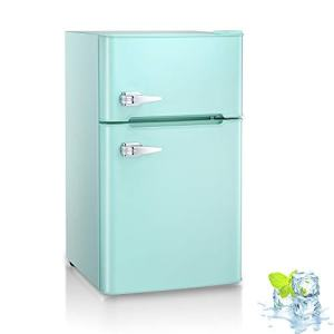 3.2 Cu.ft Compact Double Door Refrigerator with Freezer, Freestanding Mini Fridge with Top Door Upright Freezer for Home,Dorm,Office or RV with Removable Glass Shelves (Green)