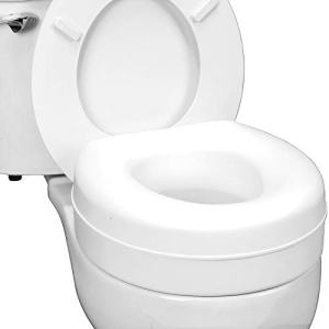 HealthSmart Portable Elevated Raised Toilet Seat Riser that fits Most Standard Seats, White