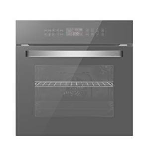 "Empava 24"" Electric Convection Single Wall Oven 10 Cooking Functions Deluxe 360° ROTISSERIE with Sensitive Touch Control in Silver Mirror Glass, SWOC17"