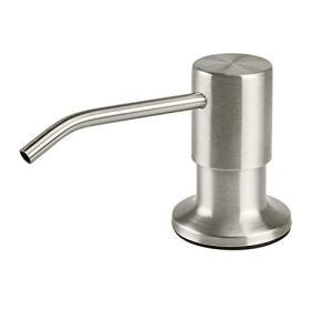 SAMODRA Soap Dispenser for Kitchen Sink, Premium Stainless Steel Pump Head Brushed Nickel 17 OZ Bottle 3.15 Inch Threaded Tube for Granite Thick Deck Installs