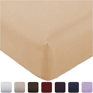 Mellanni Fitted Sheet King Beige - Brushed Microfiber 1800 Bedding - Wrinkle, Fade, Stain Resistant - Deep Pocket - 1 Single Fitted Sheet Only (King, Beige)