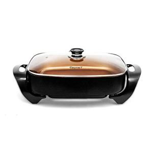"Caynel Professional Non-stick Copper Electric Skillet Jumbo, Deep Dish with Tempered Glass Vented Lid, Upgrade Thermostat, 16""x 12""x 3.15""- 8 quart, Copper (Copper)"