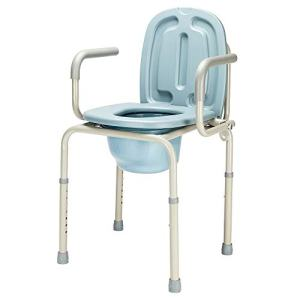 OMECAL 450lbs Drop Arm Medical Bedside Commode Chair, Homecare Toilet Seat with Safety Steel Frame, 8 Quart Capacity Pail, Adjustable Height Support Tool-Free Assembly