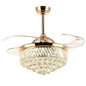 SILJOY Dimmable Ceiling Fan with Lights Retractable Blades Invisible Crystal Chandelier Fan Led Ceiling Light Kit for Bedroom Living room Gold 36""