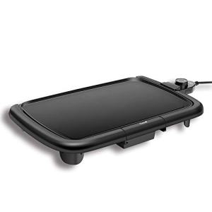 "Caynel Professional Electric Griddle, Cool-Touch Griddle, Smoke-less Non-Stick Coating with Removable Drip Tray and Cool-touch Handles, Compact Storage, Upgrade Thermostat for Indoor/Outdoor, Fully immersible Easy Cleaning, 16""x10"" Family-Sized, Copper (B"