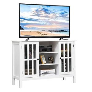 "Tangkula Wood TV Stand, Classic Design Storage Console Free Standing Cabinet for TV up to 45"", TV Cabinet Media Center Home Living Room Furniture, TV Stand Media Cabinet (White)"