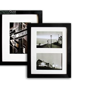 The Display Guys~ 2pcs 8x10 inch Matte Black Pine Wood Photo Frame, Real Glass,Luxury Made Affordable, with White Core Mat Boards 2 for 5x7 Picture+2 Collage Mat Boards for 4x6 Pictures