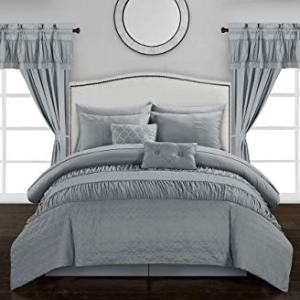 Chic Home Mykonos 20 Piece Comforter Set, Queen, Grey