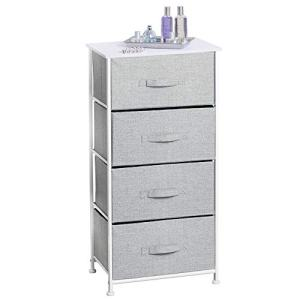 mDesign Vertical Dresser Storage Tower - Sturdy Steel Frame, Wood Top, Easy Pull Fabric Bins - Organizer Unit for Bedroom, Hallway, Entryway, Closets - Textured Print - 4 Drawers, Gray/White