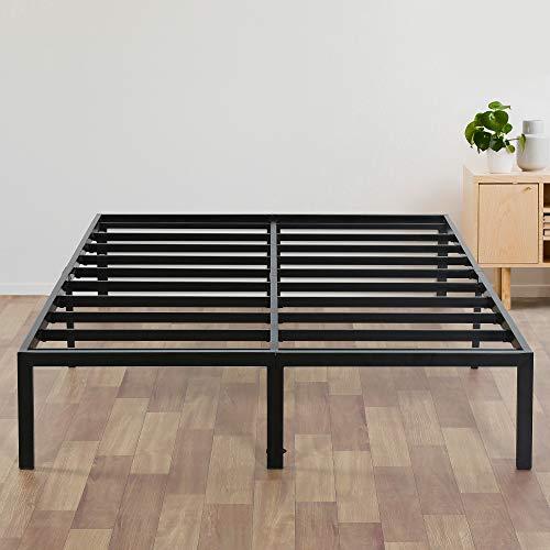 Olee Sleep 14 Inch Heavy Duty Steel Slat/ Anti-slip Support/ Easy Assembly/ Mattress Foundation/ Bed Frame/ Maximum Storage/ Noise Free/ No Box Spring Needed, Black
