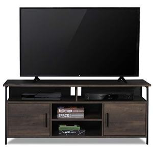 "Sekey Home 58"" Entertainment Center Wood Media TV Stand   Storage Console, Smoky Oak"