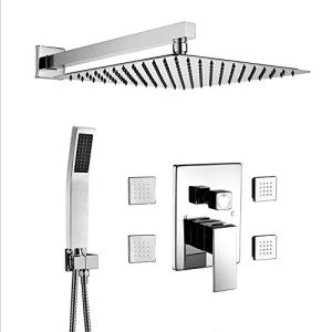 BST NER19008DL Shower Body Sprays Systems, 10 Inch Rian Shower Wall Mounted, All Metal Shower Faucet Set, Contain Rougn In Shower Valve, Chrome