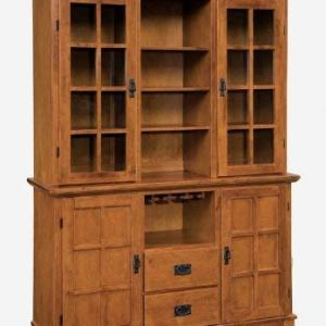 Home Style Arts and Crafts Buffet and Hutch with Cottage Oak Finish, Wine Glass Rack, Wood Panel Doors, Two Drawers, and Adjustable Shelves