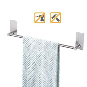 Songtec Bathroom Towel Bar 16-inch, No Drill Stick On Towel Rack, Easy Install with Self-Adhesive, Premium SUS304 Stainless Steel - Brushed Nickle