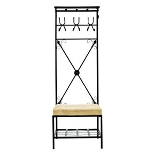 "SEI Furniture Entryway Bench and Storage Rack - 72.5"" Tall w/Black Finish - 12 Hook Design"