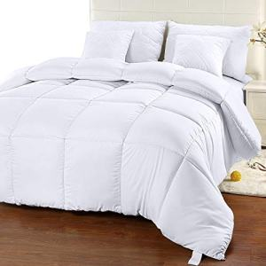 Utopia Bedding Comforter Duvet Insert - Quilted Comforter with Corner Tabs - Box Stitched Down Alternative Comforter (Queen, White)