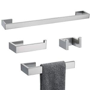 TNOMS 4 Pieces Bathroom Hardware Accessories Set Towel Bar Towel Holder Robe Hook Toilet Paper Holder Stainless Steel,Q8-P4BR