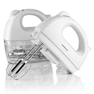 Ovente Electric Hand Mixer with 2 Stainless Steel Chrome Beaters and Extra Snap-On Case Storage, Powerful 200 Watts Motor with 5 Mixing Speeds, Great for Whipping, Dough, and More, White (HM161W)