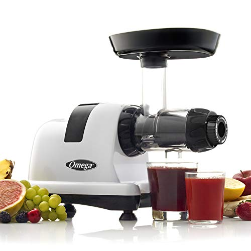 Omega J8006HDS Nutrition Center Quiet Dual-Stage Slow Speed Masticating Juicer Makes Fruit and Vegetable 80 Revolutions per Minute High Juice, 200-Watt, Silver