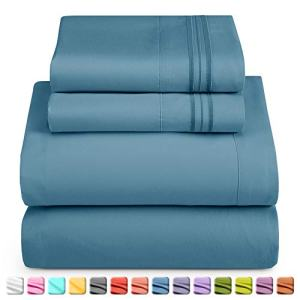 Nestl Luxury Queen Sheet Set - 4 Piece Extra Soft 1800 Microfiber-Deep Pocket Bed Sheets with Fitted Sheet, Flat Sheet, 2 Pillow Cases-Breathable, Hotel Grade Comfort and Softness - Blue Heaven