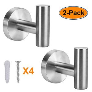 XIPOO 2 Pack Bathroom Towel Hook, Coat Hooks for Hanging Up to 25lbs, Premium Stainless Steel Towel Hooks, Strongly Firm and Never Fall Off