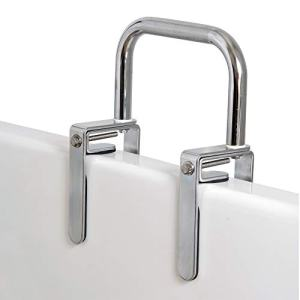 Carex Bathtub Rail with Chrome Finish - Bathtub Grab Bar Safety Bar for Seniors and Handicap - for Assistance Getting in and Out of Tub, Easy to Install on Most Tubs