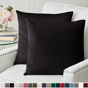 The Connecticut Home Company Luxury Velvet Throw Pillow Cases, Set of 2 Decorative Case Sets, Square Pillow Covers, Soft Pillowcases for Living Room, Bedroom, Couch, Sofa, Bed, 20x20, Black