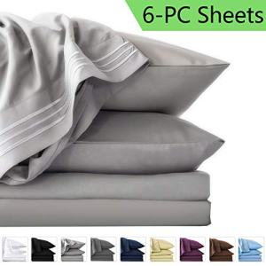 LIANLAM Queen 6 Piece Bed Sheets Set - Super Soft Brushed Microfiber 1800 Thread Count - Breathable Luxury Egyptian Sheets Deep Pocket - Wrinkle and Hypoallergenic(Queen, Grey)