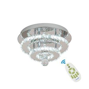 Crystal Ceiling Light Dimmable Remote Control, Luxury Modern Flush Mount LED Chandeliers Ceiling Light Fixture for Dining Room Bedroom (Include Remote Control)