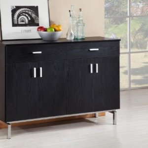 ioHOMES Knox Modern Buffet Server Sideboard with Two Doors Bottom Cabinet, Removable Wine Holder and 2 Drawers On Metal Glides, Black
