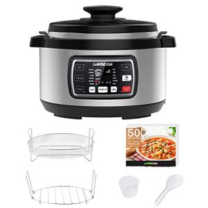 GoWISE USA GW22708 Ovate 8.5-Qt 12-in-1 Electric Pressure Cooker Oval with Slow Cook, Rice, Yogurt, Egg, Saute, Steamer, Keep Warm Functions + Accessories & Recipes, Stainless Steel