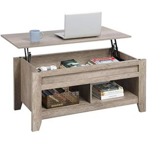 Yaheetech Lift Top Coffee Table with Hidden Storage Compartment & Lower Shelf, Lift Tabletop Dining Table for Living Room, 24.2in H, Craftsman Oak