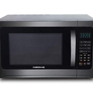 Farberware Black FMO12AHTBSG 1.2 Cu. Ft. 1100-Watt Microwave Oven with Grill, ECO Mode and Blue LED Lighting, Black Stainless Steel