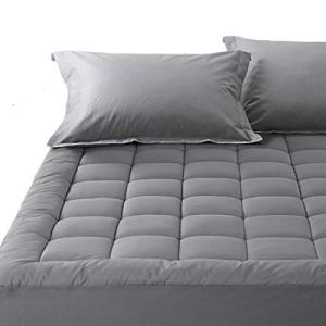 Balichun Pillowtop Queen Mattress Pad Cover 300TC 100% Cotton Down Alternative Filled Mattress Topper with 8-21-Inch Deep Pocket (Dark Grey, Queen)