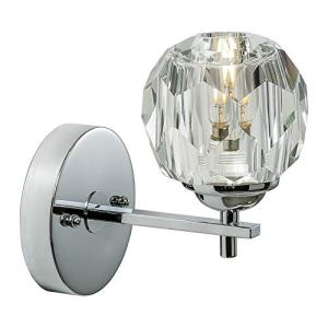 Loclgpm Modern Chrome Crystal Wall Sconce, 1 Light Wall Light Fixture with Polished Clear Crystal Shade, Hardwired Wall Lamp for Bedroom, Living Room, Hallway, Bedside, Bathroom, Hotel Indoor Decor