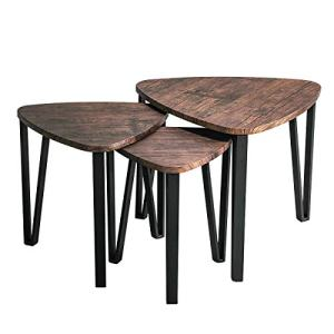 Industrial Nesting-Tables Living Room Coffee Table Sets of 3 Stacking End Side Tables Nightstands Vintage Night Tables for Bedroom Home Office Telephone Table Kids' Nightstands, Brown-CAS020