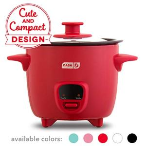 Dash DRCM200GBRD04 Mini Rice Cooker Steamer with Removable Nonstick Pot, Keep Warm Function & Recipe Guide, Red