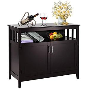 Costzon Kitchen Storage Sideboard Dining Buffet Server Cabinet Cupboard, Free Standing Storage Chest with 2 Level Cabinets and Open Shelf, Adjustable Middle Shelf for Home, Dining Room (Brown)