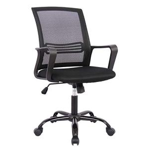 Smugdesk Ergonomic Lumbar Support Mesh Office Task Computer Desk Chair with Wheels and Arms, Black