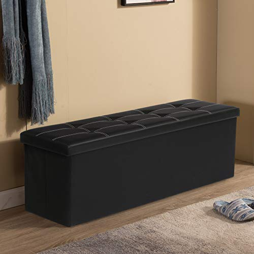 KINGSO Ottoman Storage Seat Bench Foldable Faux Leather Footrest Bed Bench Package deal Dimensions: 43.zero x 15.zero x 15.zero inches