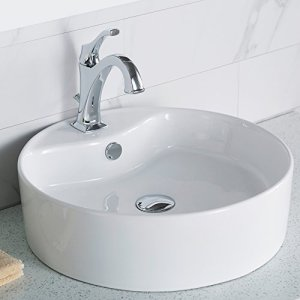 KRAUS KCV-142 Elavo Round Vessel Porcelain Ceramic Bathroom Sink 18 Inch in White with Overflow
