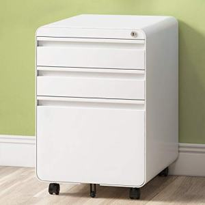 3-Drawer Filing Cabinet, Metal Vertical File Cabinet with Hanging File Frame for Legal & Letter File Install-Free Anti-tilt Design and Lockable System Office Rolling File Cabinet | White