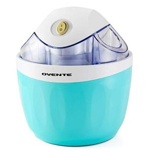 Ovente Electric Ice Cream Maker 1 Liter, 15 Watts Sorbet and Frozen Yogurt Machine, Quick Easy and Healthy Homemade Dessert Mix Creation, Perfect for Summer Day and Party, Blue (ICM110BL)