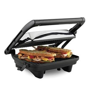 """Hamilton Beach Electric Panini Press Grill with Locking Lid, Opens 180 Degrees for any Sandwich Thickness (25460A) Nonstick 8"""" X 10"""" Grids Chrome Finish,Medium"""