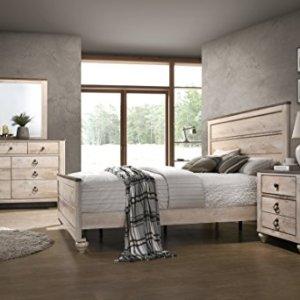 Roundhill Furniture Imerland Contemporary White Wash Finish 4-Piece Bedroom Set,