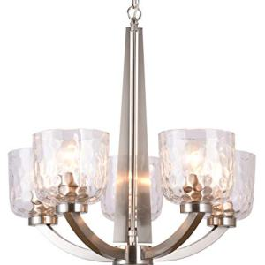 "Alice House 22"" 5-Light E26 Large Chandelier Brushed Nickel Modern Style Hammered Glass Traditional Hanging Pendant Lighting Fixture for Living Room, Dining Room, Kitchen, Bedroom AL6091-H5"