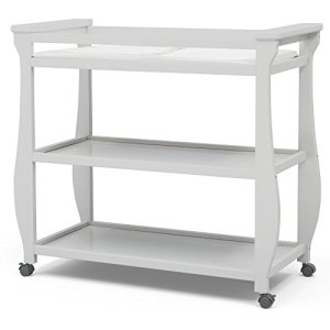 Delta Children Lancaster Changing Table with Wheels and Changing Pad, Bianca White